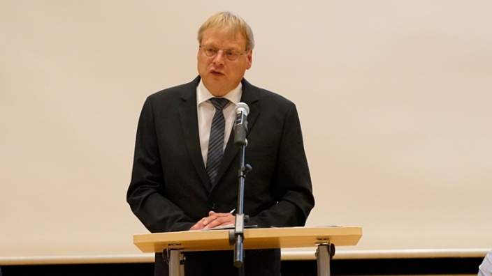 Burkhard König bei seiner Bewerbungsansprache.