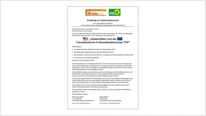"""Einladung zur Podiumsdiskussion: """"Südwestfalen und das Transatlantische Freihandelsabkommen TTIP"""""""